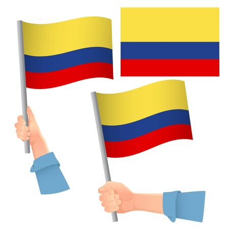 Colombia flag in hand. Patriotic background. National flag of Colombia vector illustration Foto de archivo - 126488525