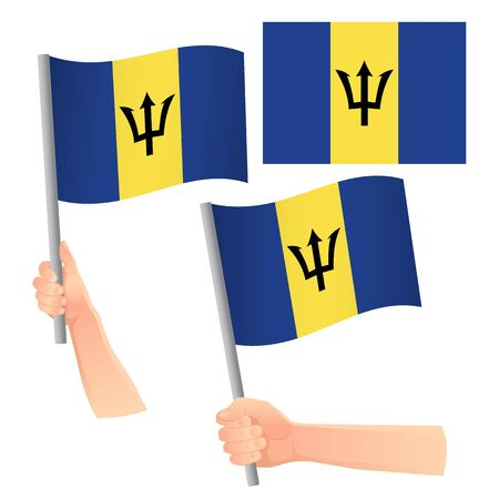 Barbados flag in hand. Patriotic background. National flag of Barbados vector illustration