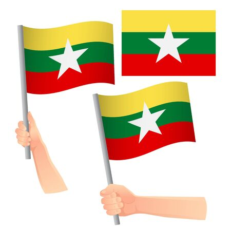 Myanmar flag in hand. Patriotic background. National flag of Myanmar vector illustration