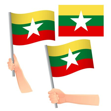 Burma flag in hand. Patriotic background. National flag of Burma vector illustration Stock Illustratie