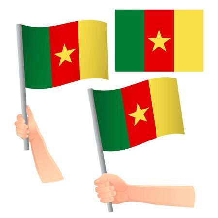 Cameroon flag in hand. Patriotic background. National flag of Cameroon vector illustration Stock Illustratie