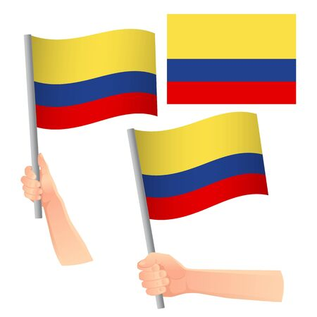 Colombia flag in hand. Patriotic background. National flag of Colombia vector illustration Foto de archivo - 126881377