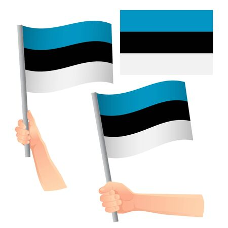 Estonia flag in hand. Patriotic background. National flag of Estonia vector illustration  イラスト・ベクター素材