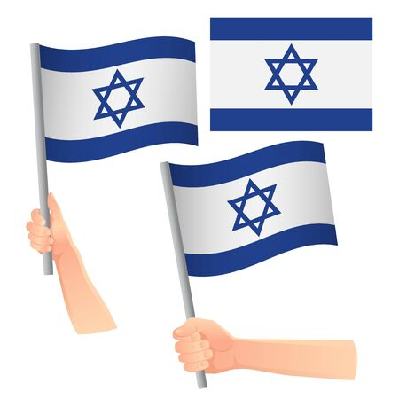 Israel flag in hand. Patriotic background. National flag of Israel vector illustration Illustration