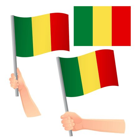 Mali flag in hand. Patriotic background. National flag of Mali vector illustration