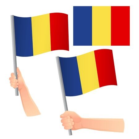 Romania flag in hand. Patriotic background. National flag of Romania vector illustration Иллюстрация