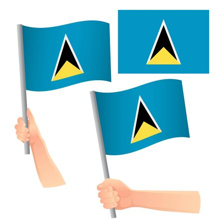 Saint Lucia vlag in de hand. Patriottische achtergrond. Nationale vlag van Saint Lucia vectorillustratie