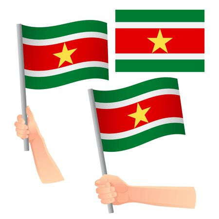 Suriname flag in hand. Patriotic background. National flag of Suriname vector illustration