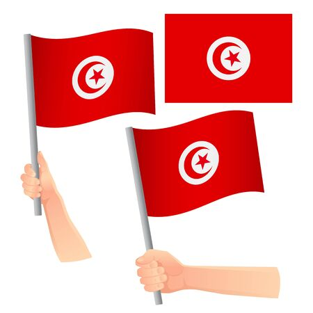 Tunisia flag in hand. Patriotic background. National flag of Tunisia vector illustration Banque d'images - 126881663