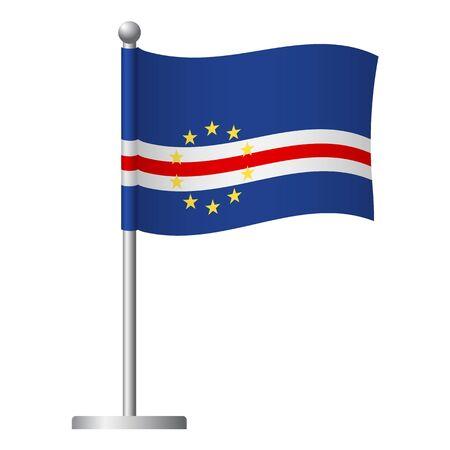 Cape Verde flag on pole. Metal flagpole. National flag of Cape Verde vector illustration