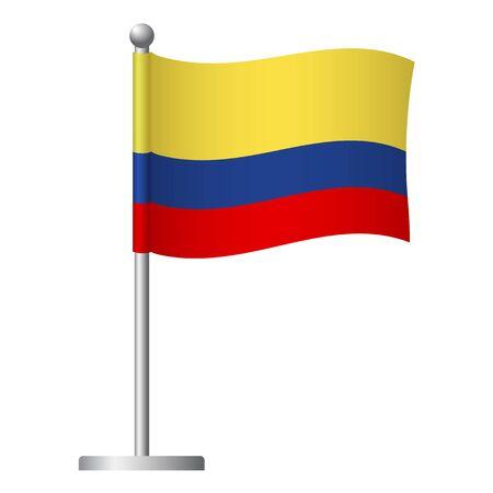 Colombia flag on pole. Metal flagpole. National flag of Colombia vector illustration Ilustrace