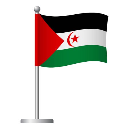 Sahrawi Arab Democratic Republic flag on pole. Metal flagpole. National flag of Sahrawi Arab Democratic Republic vector illustration