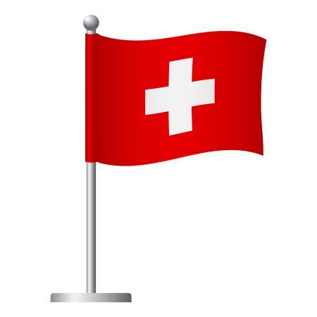 Switzerland flag on pole. Metal flagpole. National flag of Switzerland vector illustration Banque d'images - 126881612