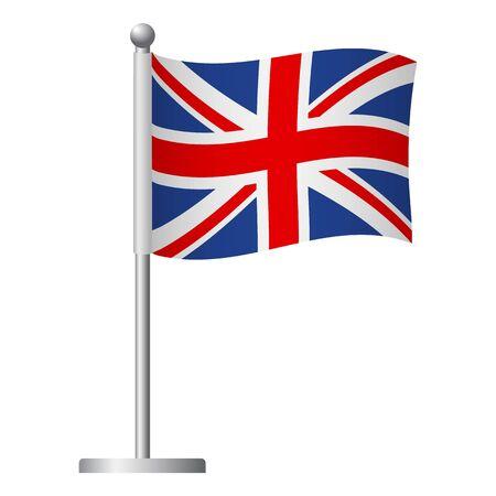 United Kingdom flag on pole. Metal flagpole. National flag of United Kingdom vector illustration Vector Illustratie