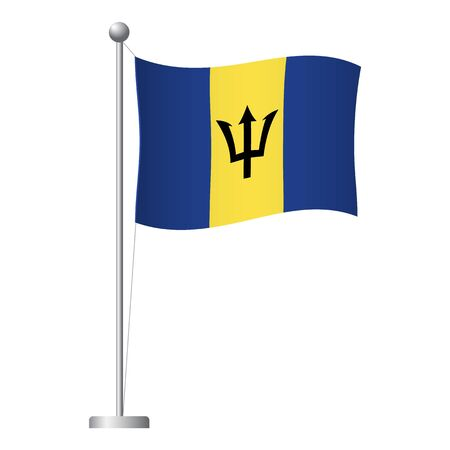 Barbados flag on pole. Metal flagpole. National flag of Barbados vector illustration