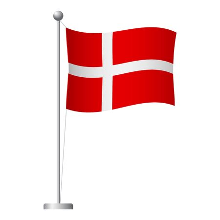 Denmark flag on pole. Metal flagpole. National flag of Denmark vector illustration Illustration