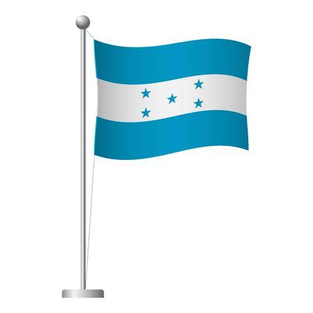 Honduras flag on pole. Metal flagpole. National flag of Honduras vector illustration