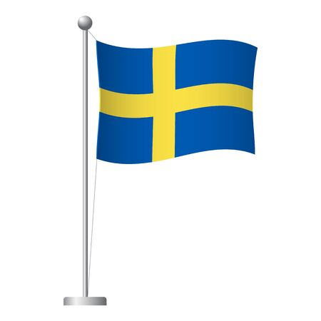 Sweden flag on pole. Metal flagpole. National flag of Sweden vector illustration