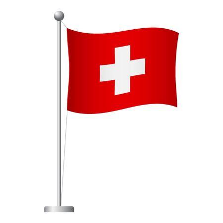 Switzerland flag on pole. Metal flagpole. National flag of Switzerland vector illustration