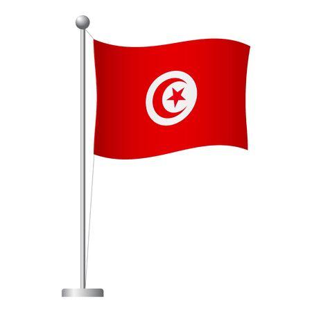 Tunisia flag on pole. Metal flagpole. National flag of Tunisia vector illustration