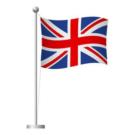Vlag van het Verenigd Koninkrijk op paal. Metalen vlaggenmast. Nationale vlag van het Verenigd Koninkrijk vectorillustratie Vector Illustratie
