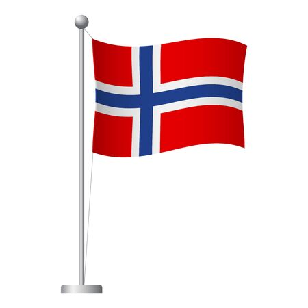 Norway flag on pole. Metal flagpole. National flag of Norway vector illustration Illustration