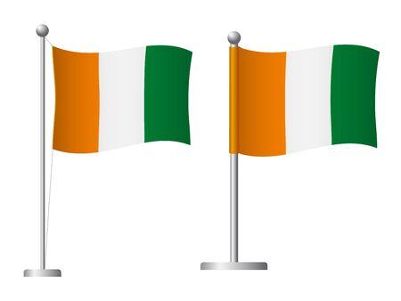 Cote divoire - Ivory Coast flag on pole. Metal flagpole. National flag of Cote divoire - Ivory Coast vector illustration