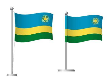 Rwanda flag on pole. Metal flagpole. National flag of Rwanda vector illustration Illustration