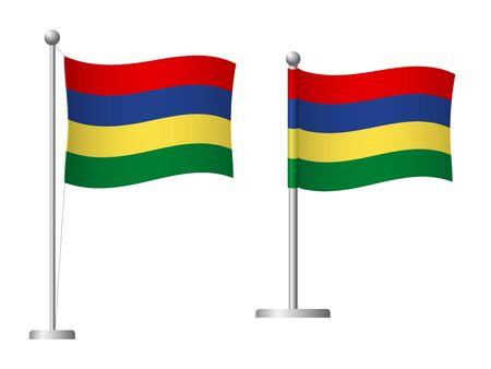 Mauritius flag on pole. Metal flagpole. National flag of Mauritius vector illustration