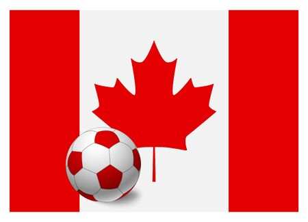 Canada flag and soccer ball. National football background. Soccer ball with flag of Canada vector illustration 일러스트