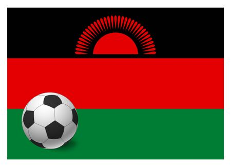 Malawi flag and soccer ball. National football background. Soccer ball with flag of Malawi vector illustration