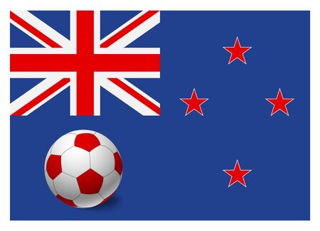 New Zealand flag and soccer ball. National football background. Soccer ball with flag of New Zealand vector illustration  イラスト・ベクター素材