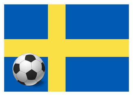 Sweden flag and soccer ball. National football background. Soccer ball with flag of Sweden vector illustration