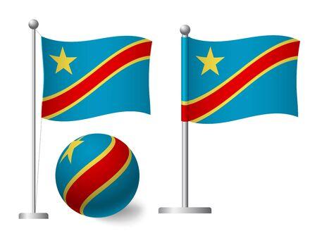 Democratic Republic of the Congo flag on pole and ball. Metal flagpole. National flag of Democratic Republic of the Congo vector illustration Standard-Bild - 129441525