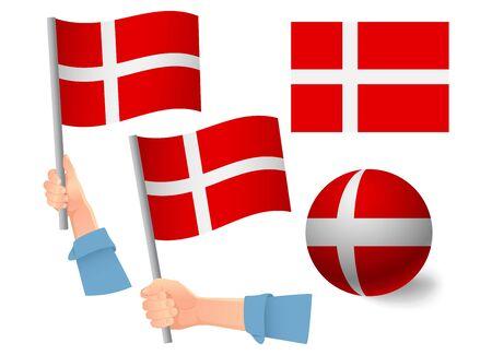 Denmark flag in hand set. Ball flag. National flag of Denmark vector illustration