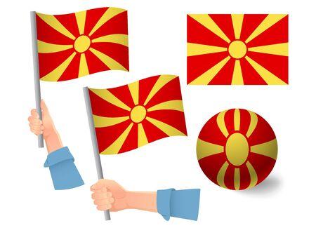 Macedonia flag in hand set. Ball flag. National flag of Macedonia vector illustration