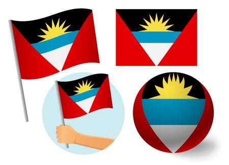 Antigua and Barbuda flag icon set.  National flag of Antigua and Barbuda vector illustration