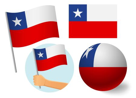 Chile flag icon set. National flag of Chile vector illustration Illustration