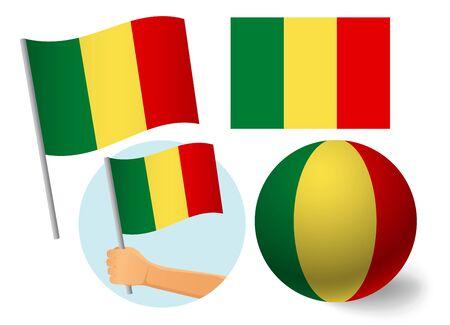 Mali flag icon set. National flag of Mali vector illustration Illustration