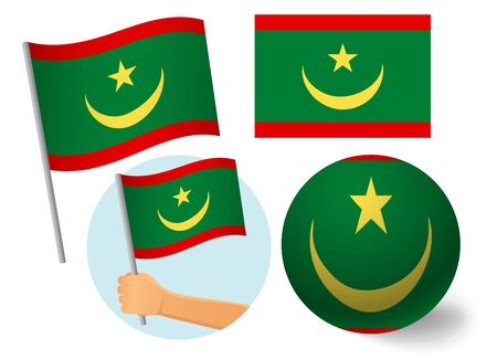 Mauritania flag icon set. National flag of Mauritania vector illustration