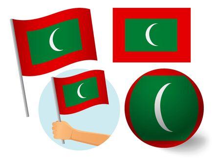 Maldives flag icon set. National flag of Maldives vector illustration