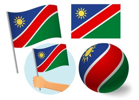Namibia flag icon set. National flag of Namibia vector illustration