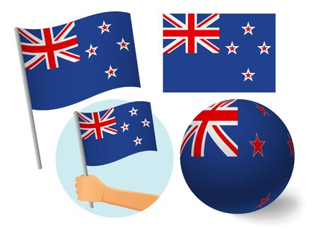 New Zealand flag icon set. National flag of New Zealand vector illustration  イラスト・ベクター素材