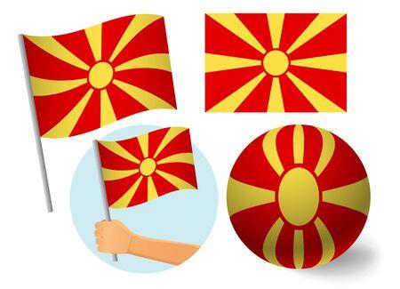 Macedonia flag icon set. National flag of Macedonia vector illustration