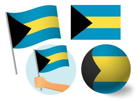 Bahamas flag icon set.  National flag of Bahamas vector illustration 向量圖像