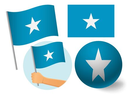 Somalia flag icon set. National flag of Somalia vector illustration Stock Illustratie