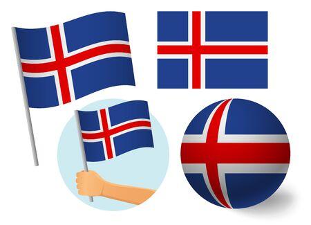 Iceland flag icon set. National flag of Iceland vector illustration