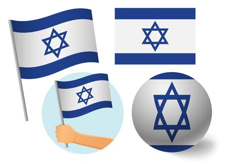 Israel flag icon set. National flag of Israel vector illustration Illustration