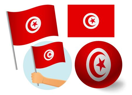 Tunisia flag icon set. National flag of Tunisia vector illustration