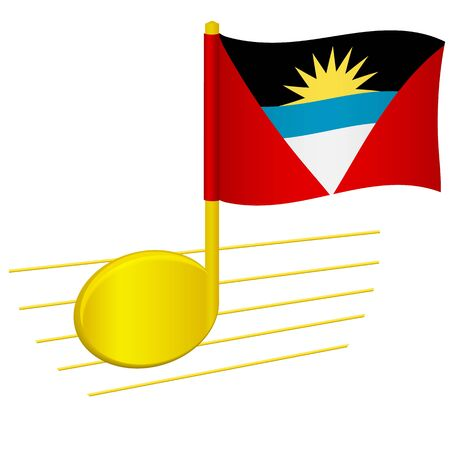 Antigua and Barbuda flag and musical note. Music background. National flag of Antigua and Barbuda and music festival concept  illustration
